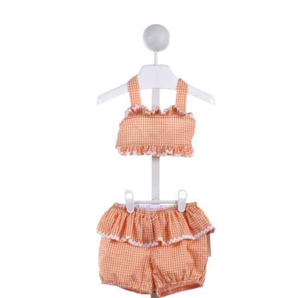 KATE & LIBBY  ORANGE  GINGHAM  2-PIECE SWIMSUIT WITH RIC RAC
