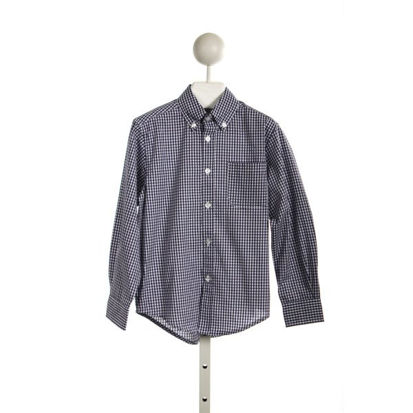 KATE & LIBBY BOY BUTTON DOWN LONG SLEEVE SHIRT IN NAVY GINGHAM