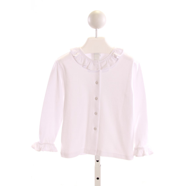BELLA BLISS  WHITE    KNIT LS SHIRT WITH RUFFLE