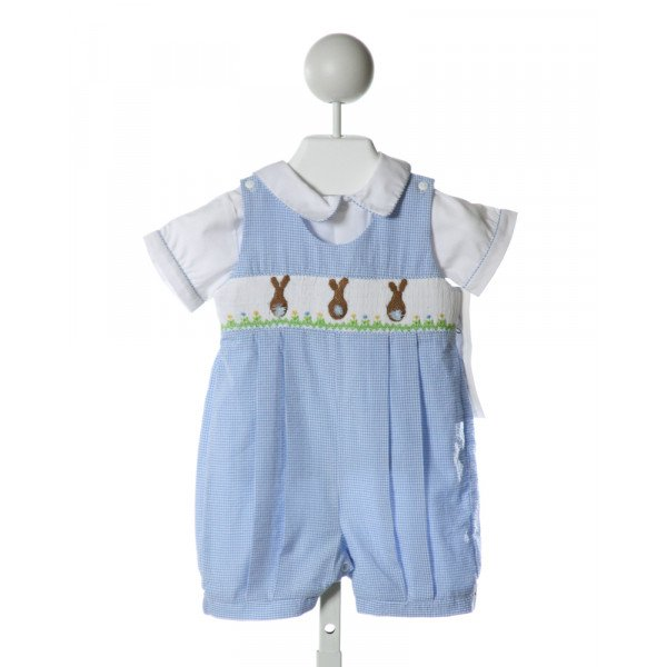 ROYAL CHILD  LT BLUE SEERSUCKER GINGHAM SMOCKED JOHN JOHN/ SHORTALL