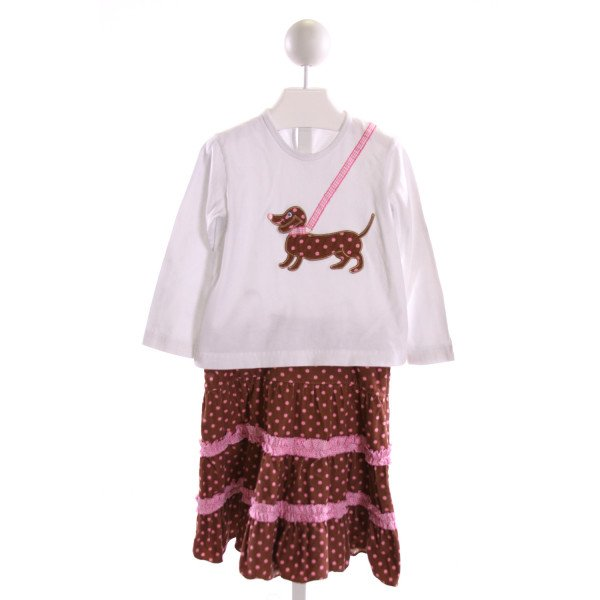 ORIENT EXPRESSED  MULTI-COLOR CORDUROY POLKA DOT EMBROIDERED 2-PIECE OUTFIT WITH RUFFLE