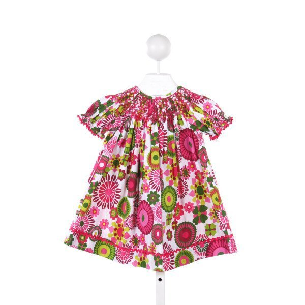 SAGE AND LILLY PINK AND GREEN FLORAL PATTERN SMOCKED DRESS