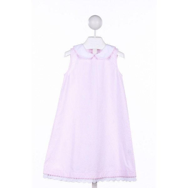 ROYAL KIDZ PINK STRIPED SEERSUCKER DRESS WITH PINK RICK-RACK AND LACE TRIM