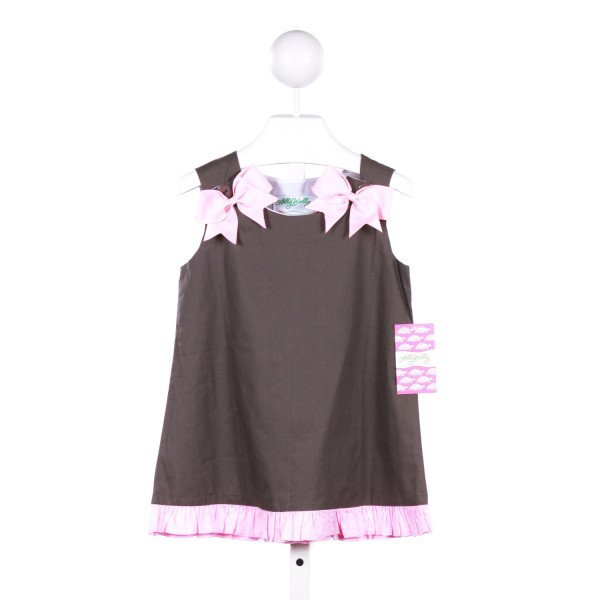 LOLLY WOLLY DOODLE GRAY DRESS WITH PINK BOWS AND RUFFLE TRIM