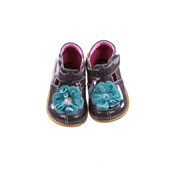 LIVIE & LUCA GRAY PATENT SHOES WITH AQUA SUEDE FLOWER TODDLER SIZE 6 *VGUC *LIGHT WEAR