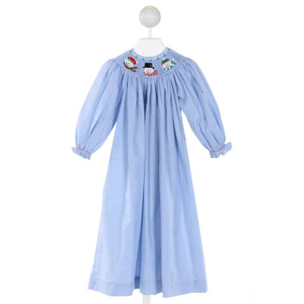REMEMBER NGUYEN  LT BLUE  MICROCHECK SMOCKED DRESS WITH RUFFLE
