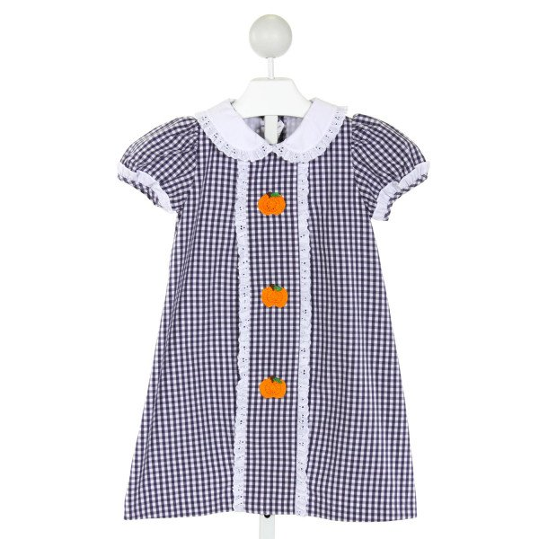 POSH PICKLE  NAVY  GINGHAM EMBROIDERED DRESS WITH EYELET TRIM