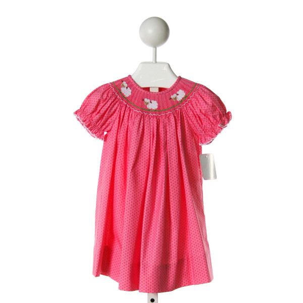PETIT BEBE  HOT PINK COTTON POLKA DOT SMOCKED DRESS WITH PICOT STITCHING