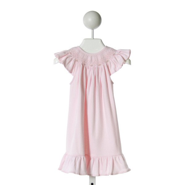 HUG ME FIRST  LT PINK KNIT  SMOCKED DRESS WITH RUFFLE