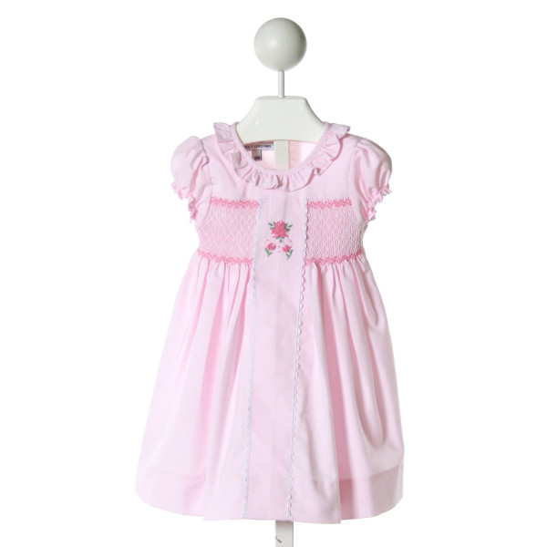 SWEET DREAMS  LT PINK   SMOCKED DRESS WITH RUFFLE