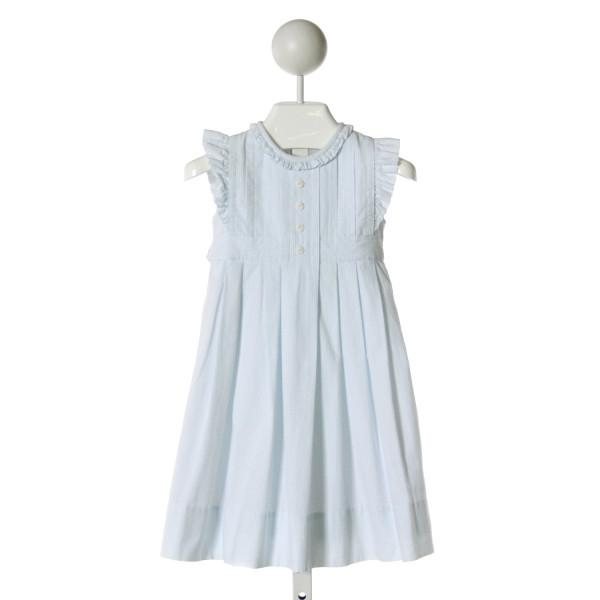 STRASBURG  MINT SEERSUCKER  EMBROIDERED DRESS WITH RUFFLE
