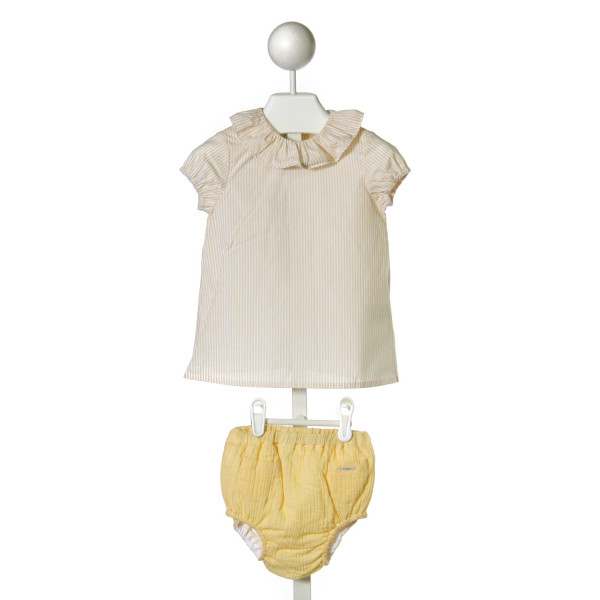 FOQUE  YELLOW  STRIPED  2-PIECE OUTFIT WITH RUFFLE