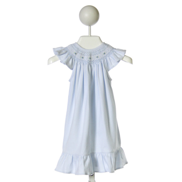 HUG ME FIRST  LT BLUE   SMOCKED DRESS WITH RUFFLE