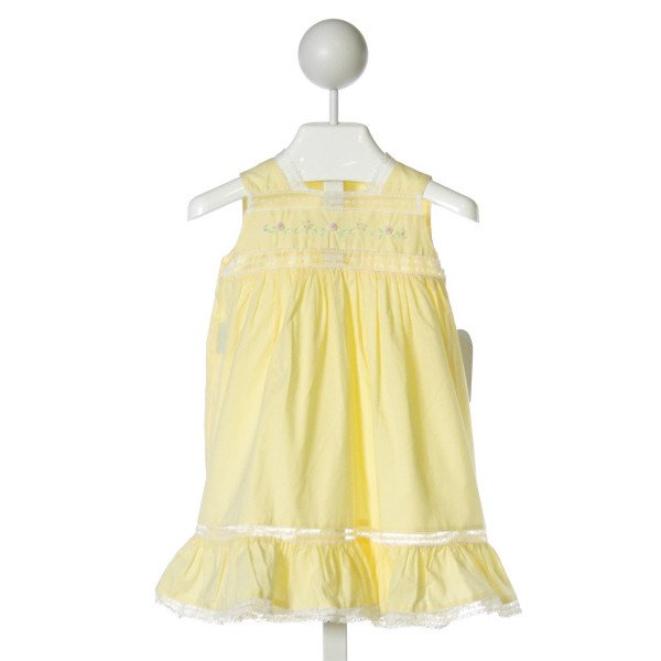 REMEMBER NGUYEN  YELLOW   EMBROIDERED DRESS WITH LACE TRIM