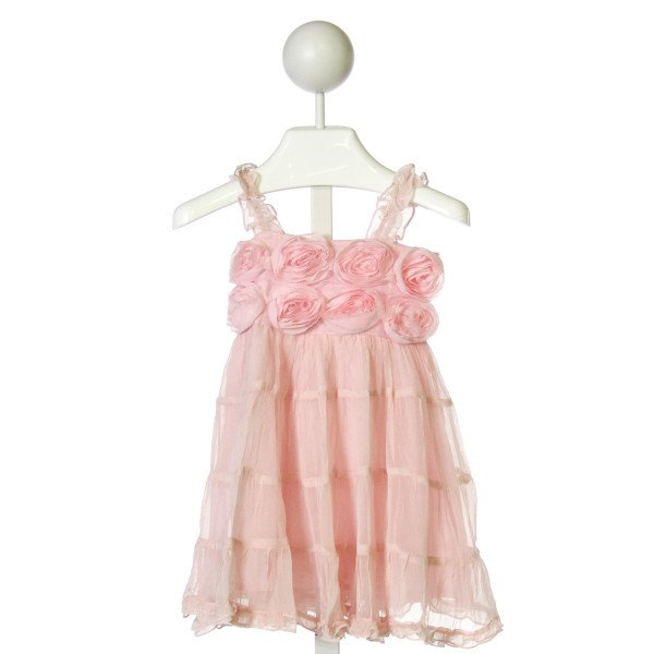 ONE POSH KID  PINK   APPLIQUED DRESS WITH RUFFLE