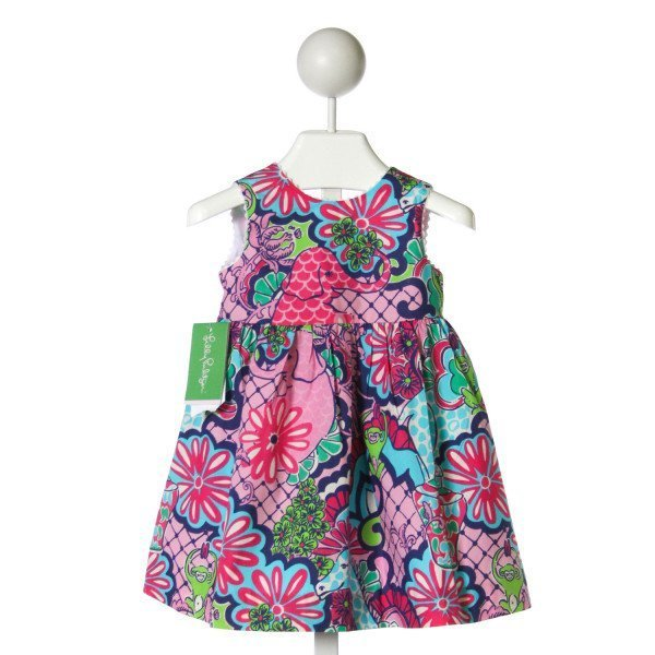 LILLY PULITZER  MULTI-COLOR   PRINTED DESIGN DRESS WITH RIC RAC