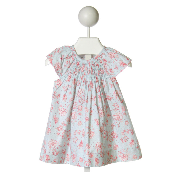 MUD PIE  LT BLUE  FLORAL PRINTED DESIGN DRESS WITH PICOT STITCHING