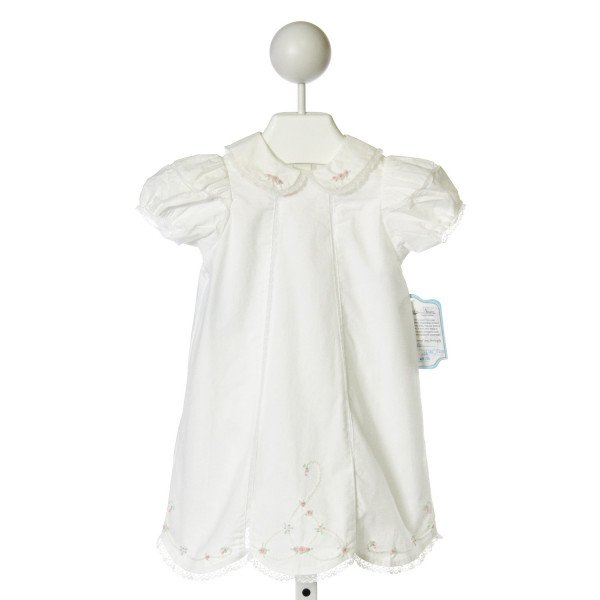 REMEMBER NGUYEN  WHITE COTTON  EMBROIDERED DRESS WITH EYELET TRIM