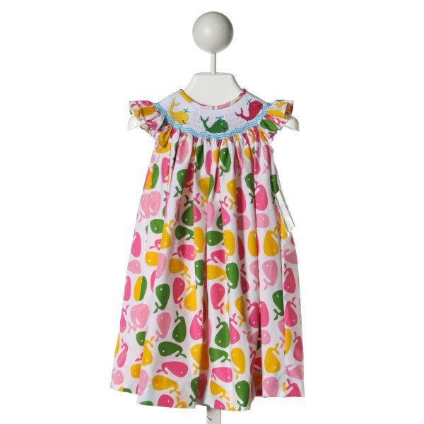 KANDYLAND KIDS  MULTI-COLOR  PRINT SMOCKED DRESS