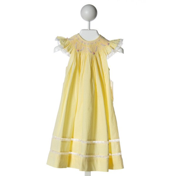 REMEMBER NGUYEN  YELLOW   SMOCKED DRESS WITH LACE TRIM