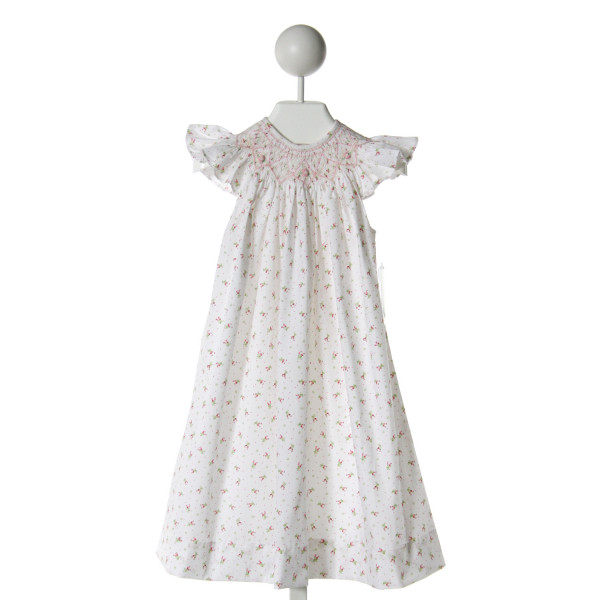 REMEMBER NGUYEN  WHITE  FLORAL SMOCKED DRESS WITH RUFFLE