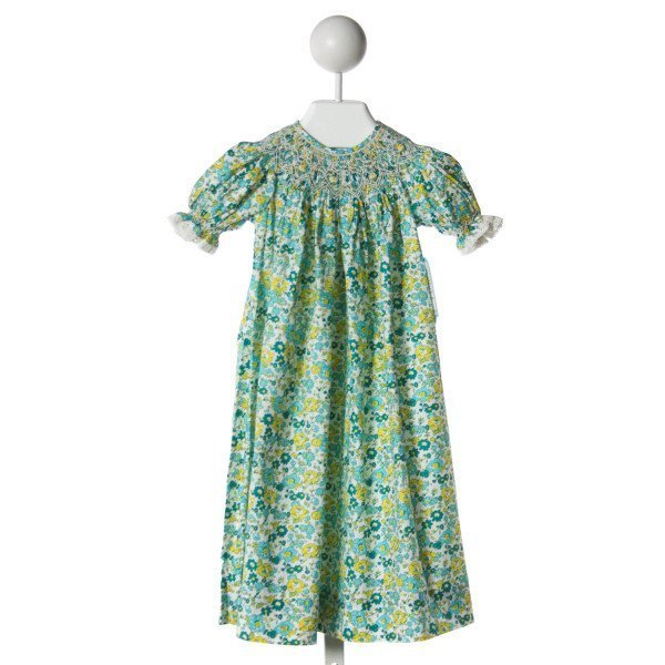 REMEMBER NGUYEN  AQUA  PRINT SMOCKED DRESS WITH LACE TRIM