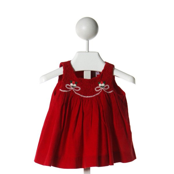 FANTAISIE BEBES  RED POLY CORD  SMOCKED DRESS