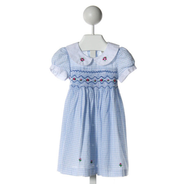 SISSYMINI  LT BLUE COTTON CHECK SMOCKED DRESS