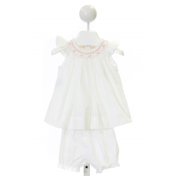 SEN BABY  OFF-WHITE COTTON  SMOCKED DRESS WITH RUFFLE