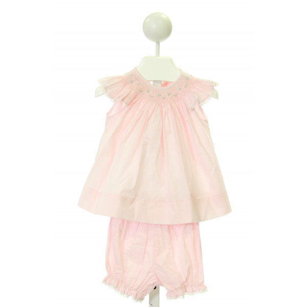 SEN BABY  LT PINK   SMOCKED DRESS WITH LACE TRIM