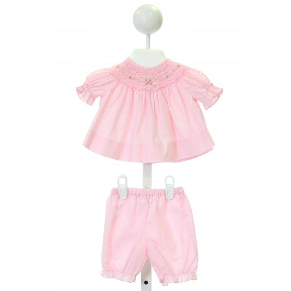 SWEET ANGELA  PINK   SMOCKED 2-PIECE OUTFIT