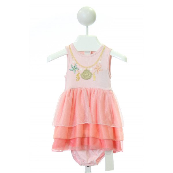 PL KIDS  PINK TULLE PRINT PRINTED DESIGN DRESS WITH TULLE