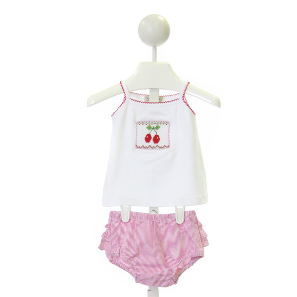 CLASSY COUTURE  MULTI-COLOR KNIT  SMOCKED 2-PIECE OUTFIT WITH PICOT STITCHING