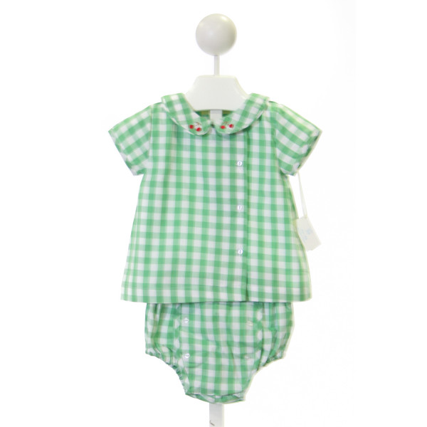 PIXIE LILY  GREEN COTTON GINGHAM EMBROIDERED 2-PIECE OUTFIT