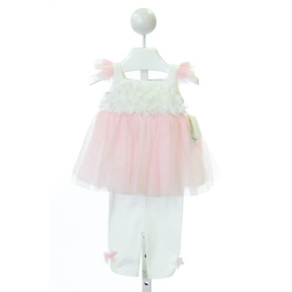 MINICLASIX  LT PINK TULLE  APPLIQUED 2-PIECE PARTY OUTFIT WITH TULLE
