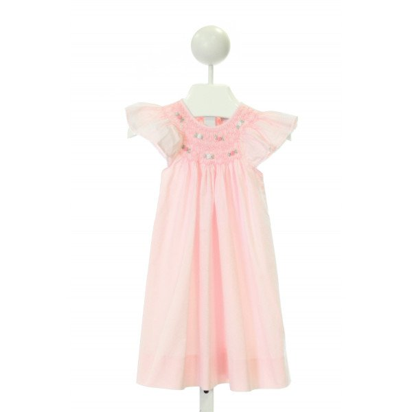 FANTAISIE KIDS  LT PINK  GINGHAM SMOCKED DRESS WITH PICOT STITCHING