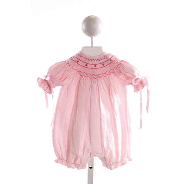 HUG ME FIRST  PINK COTTON  SMOCKED BUBBLE WITH RUFFLE