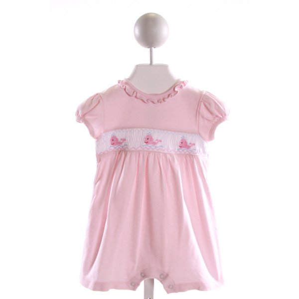 HUG ME FIRST  LT PINK KNIT  SMOCKED KNIT ROMPER WITH RUFFLE