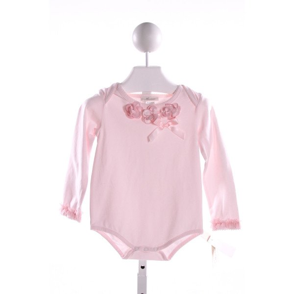 MINICLASIX  LT PINK KNIT  APPLIQUED LAYETTE WITH PICOT STITCHING