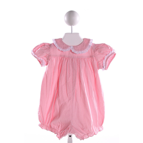 JAMES & LOTTIE  PINK COTTON GINGHAM  BUBBLE WITH EYELET TRIM