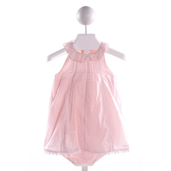 CHLOE  LT PINK COTTON  EMBROIDERED BUBBLE WITH EYELET TRIM