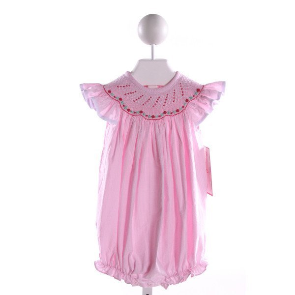 STELLYBELLY  PINK SEERSUCKER STRIPED SMOCKED BUBBLE WITH RUFFLE