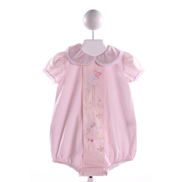 DONDOLO  LT PINK COTTON  EMBROIDERED BUBBLE WITH LACE TRIM