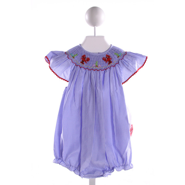 ROSALINA  BLUE COTTON GINGHAM SMOCKED BUBBLE WITH RIC RAC