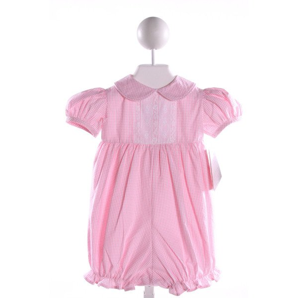 PEPPERMINT PONY  PINK COTTON GINGHAM EMBROIDERED ROMPER WITH LACE TRIM