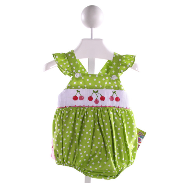 KANDYLAND KIDS  GREEN COTTON POLKA DOT SMOCKED BUBBLE WITH RUFFLE