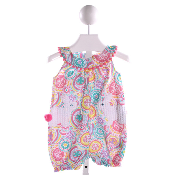MUD PIE  MULTI-COLOR COTTON PRINT EMBROIDERED BUBBLE WITH RUFFLE