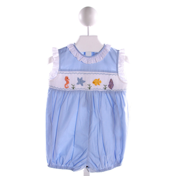 FANTAISIE KIDS  LT BLUE COTTON  SMOCKED BUBBLE WITH EYELET TRIM