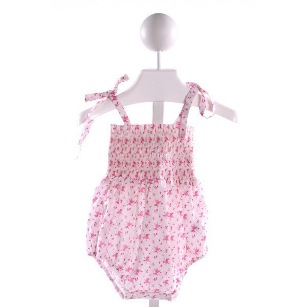 BABY CZ  PINK  FLORAL SMOCKED BUBBLE