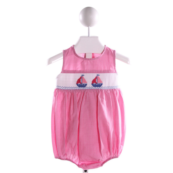 SILLY GOOSE  PINK COTTON GINGHAM SMOCKED BUBBLE